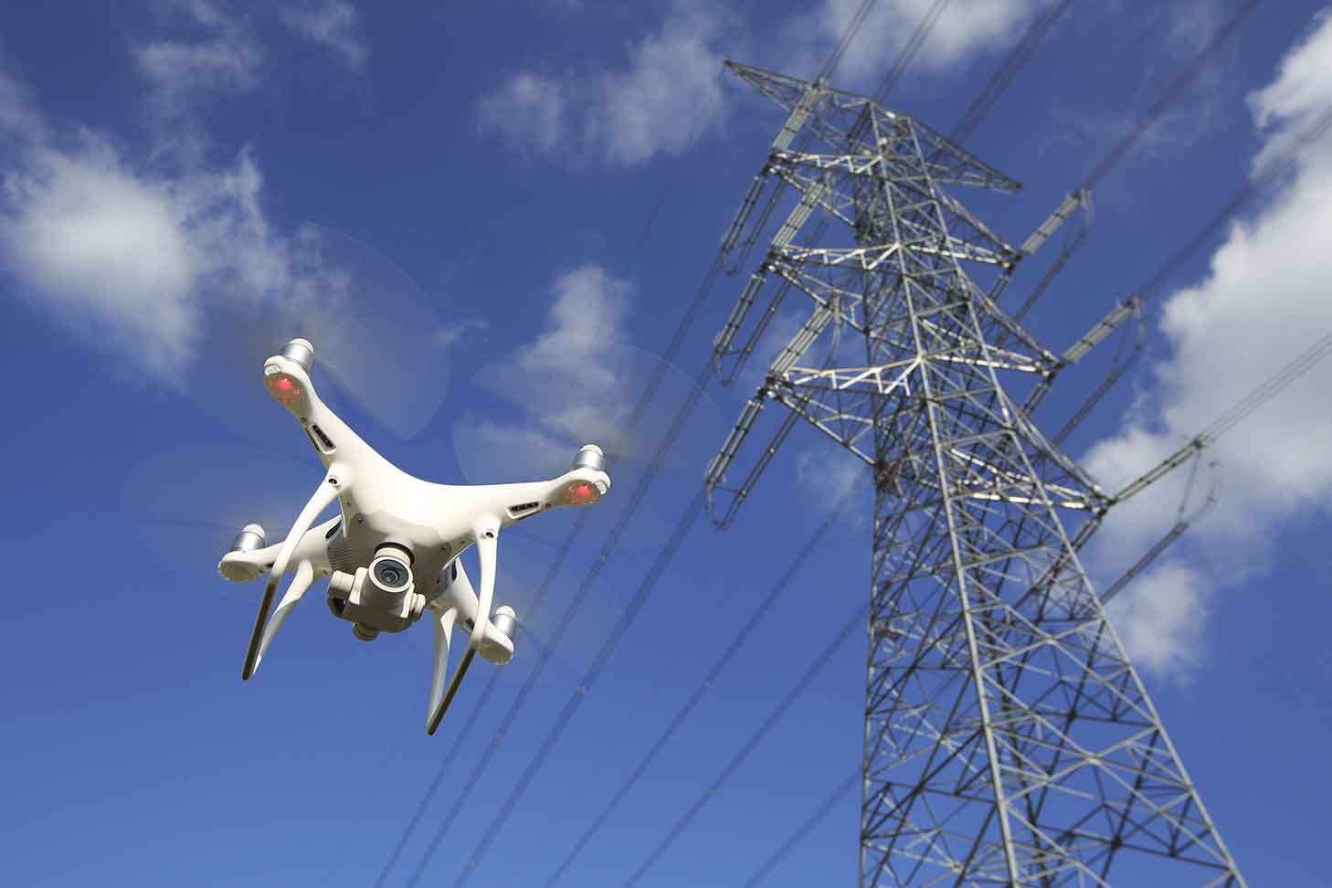 industrial aerial drone photography transmission lines